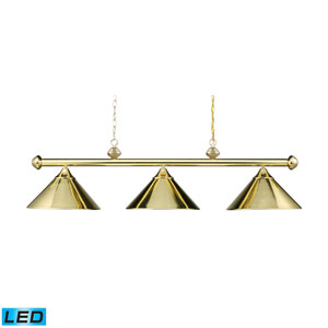 Casual Traditions Polished Brass 51-Inch LED Three Light Billiard and Island