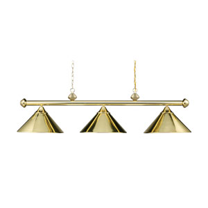 Casual Traditions Polished Brass Three Light Billiard and Island