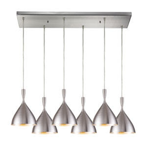 Spun Aluminum Satin Nickel Six Light Pendant