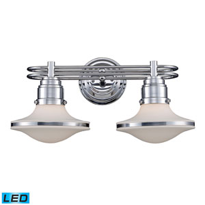 Retrospective Two Light LED Bath Fixture In Polished Chrome