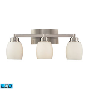 Northport Three Light LED Bath Fixture In Satin Nickel