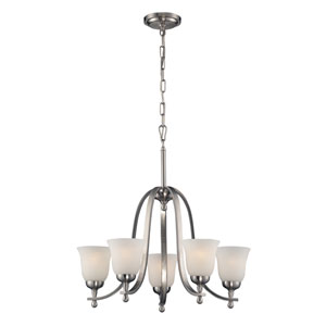 Mayfield Brushed Nickel Five Light Chandelier