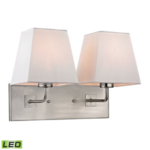 Beverly Brushed Nickel LED Two Light Wall Sconce