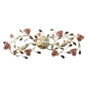 Heritage Cream Three-Light Bath Fixture with Porcelain Roses
