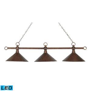 Designer Classics Antique Copper LED Three Light Billiard and Island Light