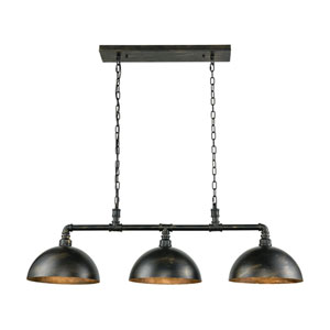 Mulvaney Black and Brushed Gold Accents Three-Light Island Pendant
