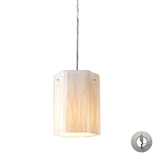 Modern Organics One Light Pendant In White Sawgrass Material In Polished Chrome Includes w/ An Adapter Kit