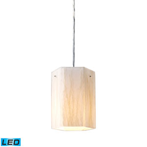Modern Organics One Light LED Pendant In White Sawgrass Material In Polished Chrome