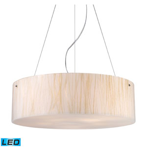 Modern Organics Five Light LED Pendant In White Sawgrass Material In Polished Chrome