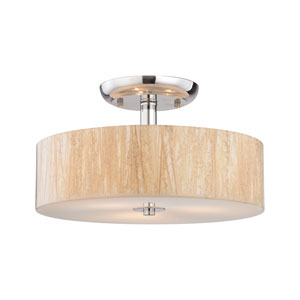 Modern Organics Polished Chrome 14-Inch Three-Light Semi-Flush Mount