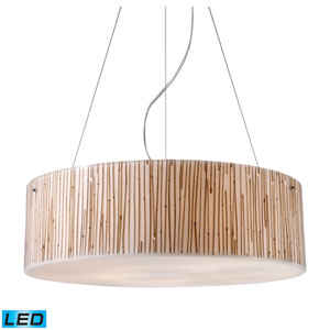 Modern Organics Five Light LED Pendant In Bamboo Stem Material In Polished Chrome
