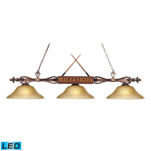 Designer Classics Wood Patina 9-Inch LED Three Light Billiard and Island