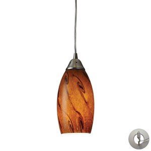 Galaxy One Light Pendant In Brown And Satin Nickel Finish Includes w/ An Adapter Kit