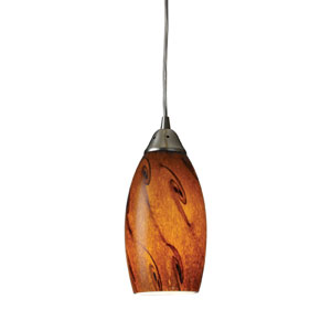 Galaxy One Light LED Pendant In Brown And Satin Nickel Finish