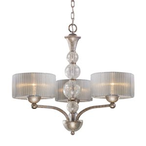 Alexis Antique Silver Three-Light Chandelier