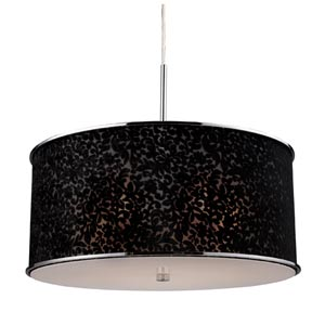 Fabrique Polished Chrome Five-Light Drum Pendant with Velvet Black Lace Shade