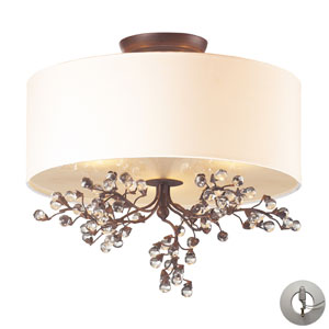 Winterberry Three Light Semi Flush In Antique Darkwood Includes An Adapter Kit to easily convert a  Recessed Light To A Semi