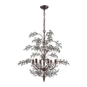 Winterberry Antique Dark Wood Six-Light Chandelier