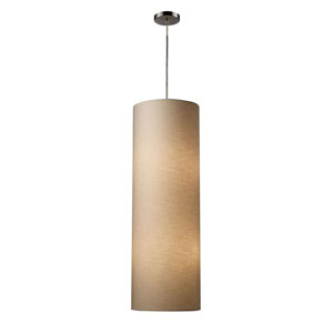 Fabric Cylinders Satin Nickel Four-Light Pendant