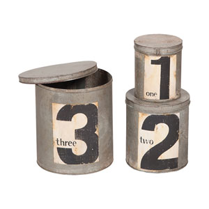 Handpainted Rustic Metal Nesting Tin Canisters - Set of Three
