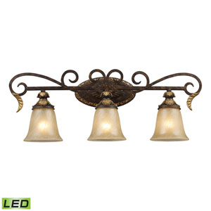 Regency Three Light LED Bath Fixture Bar In Burnt Bronze