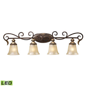 Regency Four Light LED Bath Fixture In Burnt Bronze