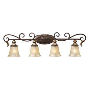 Regency Burnt Bronze Four-Light Bath Fixture