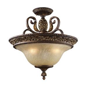 Regency Burnt Bronze Semi-Flush Ceiling Light