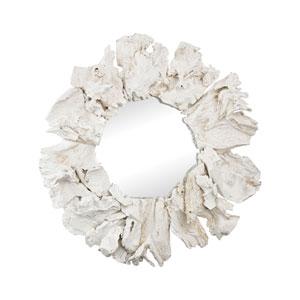 Ekwok White 32-Inch Round Mirror