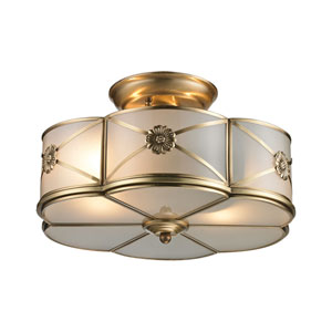 Preston Brushed Brass Two-Light Semi Flush Mount