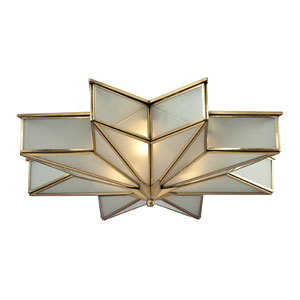 Decostar Brushed Brass Three Light Flush Mount Fixture