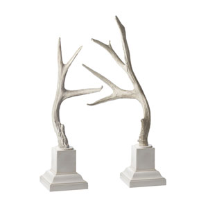 Weathered Resin Buck Antlers On White Base - Set of Two