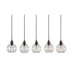 Wire Ball Black Five-Light Seven-Inch Pendant