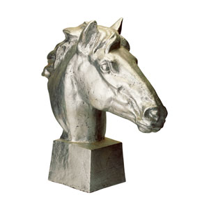 Gilded Age Distressed Silver Horse Head Statue