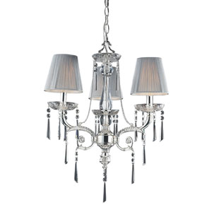 Princess Polished Silver Three-Light Chandelier