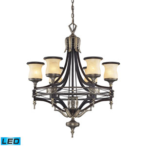 Georgian Court LED Chandelier In Antique Bronze & Dark Umber And Marblized Amber Glass