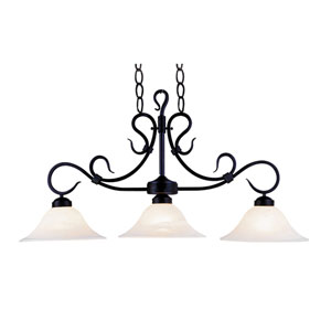 Buckingham Matte Black Three Light Billiard and Island Light