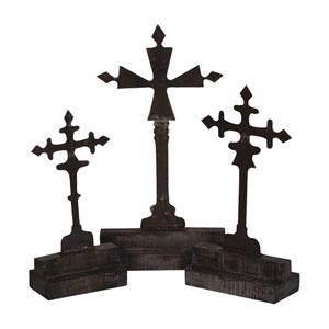 Handpainted Decorative Gray Crosses - Set of Three