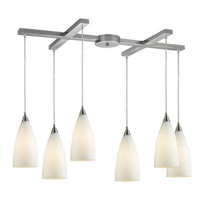 Vesta Satin Nickel Six-Light Mini Pendant