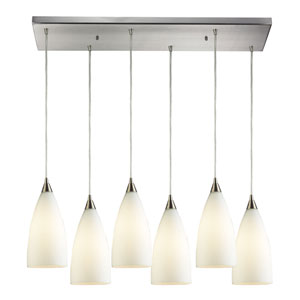 Vesta Satin Nickel Six-Light Pendant with White Glass