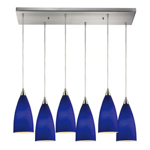 Vesta Satin Nickel Six-Light Pendant with Blue Glass