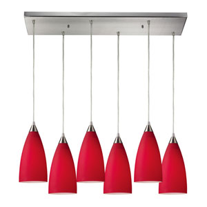 Vesta Satin Nickel Six-Light Pendant with Red Shades