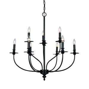 Hartford Oil Rubbed Nine Light Chandelier