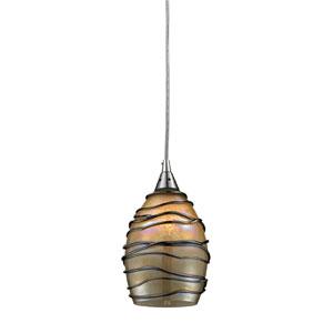 Vines One Light LED Pendant In Satin Nickel