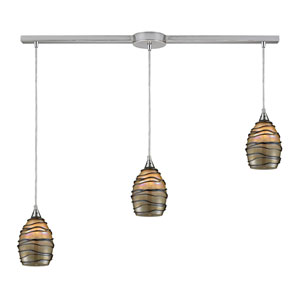 Vines Satin Nickel Three-Light Pendant