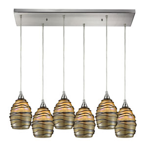 Vines Satin Nickel Six-Light Pendant