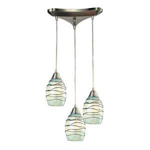 Vines Satin Nickel 8-Inch Three Light Chandelier