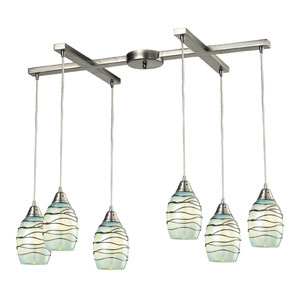 Vines Satin Nickel 8-Inch Six Light Chandelier