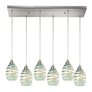 Vines Satin Nickel Six Light Chandelier
