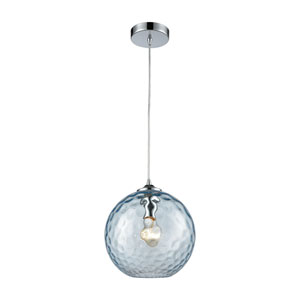 Watersphere Polished Chrome One-Light Pendant with Aqua Hammered Glass